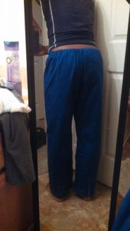 pants pre wash/dry, excuse my ratchet bathroom lol
