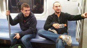 Guys being silly on the subway